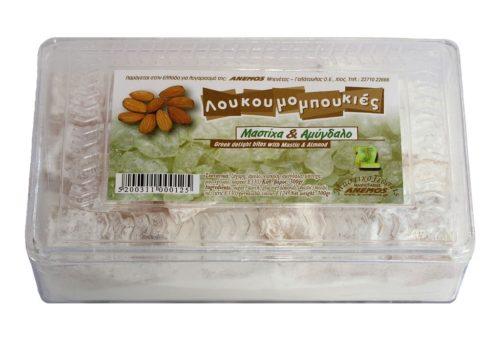 Λουκούμια Χίου Μαστίχα και αμύγδαλο σε πλαστ. κουτί 300g
