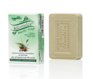 Green Mirovolos olive oil soap with mastic