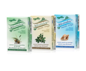 3 natural Mirovolos soaps with mastic