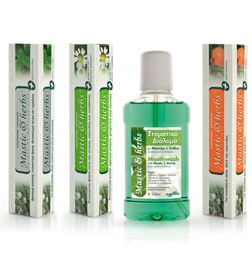 3 natural toothpastes + mouthwash with Mastic & herbs