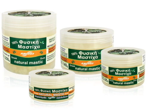 Natural gum mastic / mastiha. Packing in jars by ANEMOS
